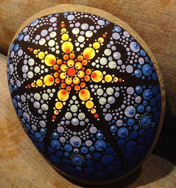 Lunar Eclipse Painted River Rock by KimsFarmhouse on Etsy