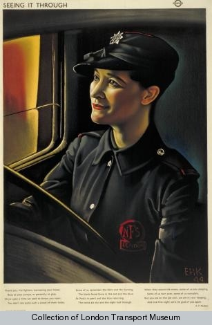 Seeing it through; firefighter, by Eric Henri Kennington, 1944. Poster from the London Transport Museum