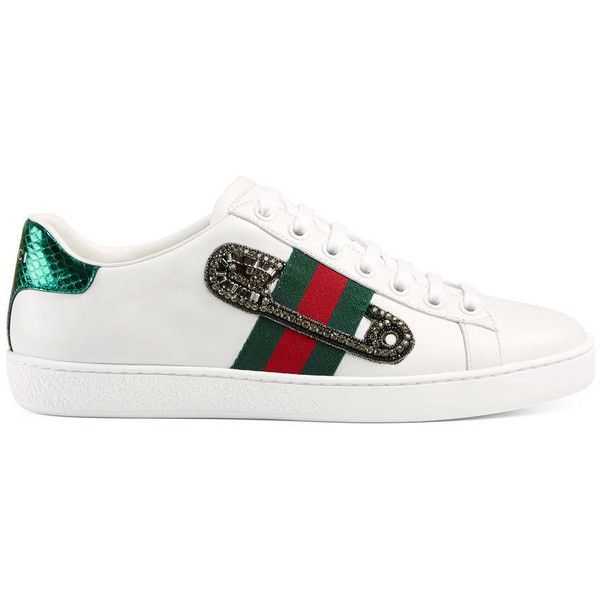 Gucci Ace Embroidered Low-Top Sneaker (€530) ❤ liked on Polyvore featuring shoes, sneakers, women, leather low top sneakers, low profile sneakers, snake leather shoes, gucci shoes and rubber sole shoes
