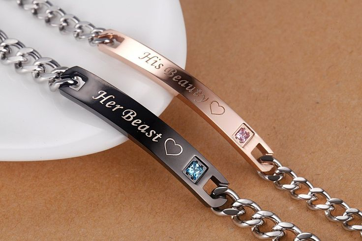 His Beauty Her Beast Stainless Steel His and Hers Couple Bracelet(2pcs)