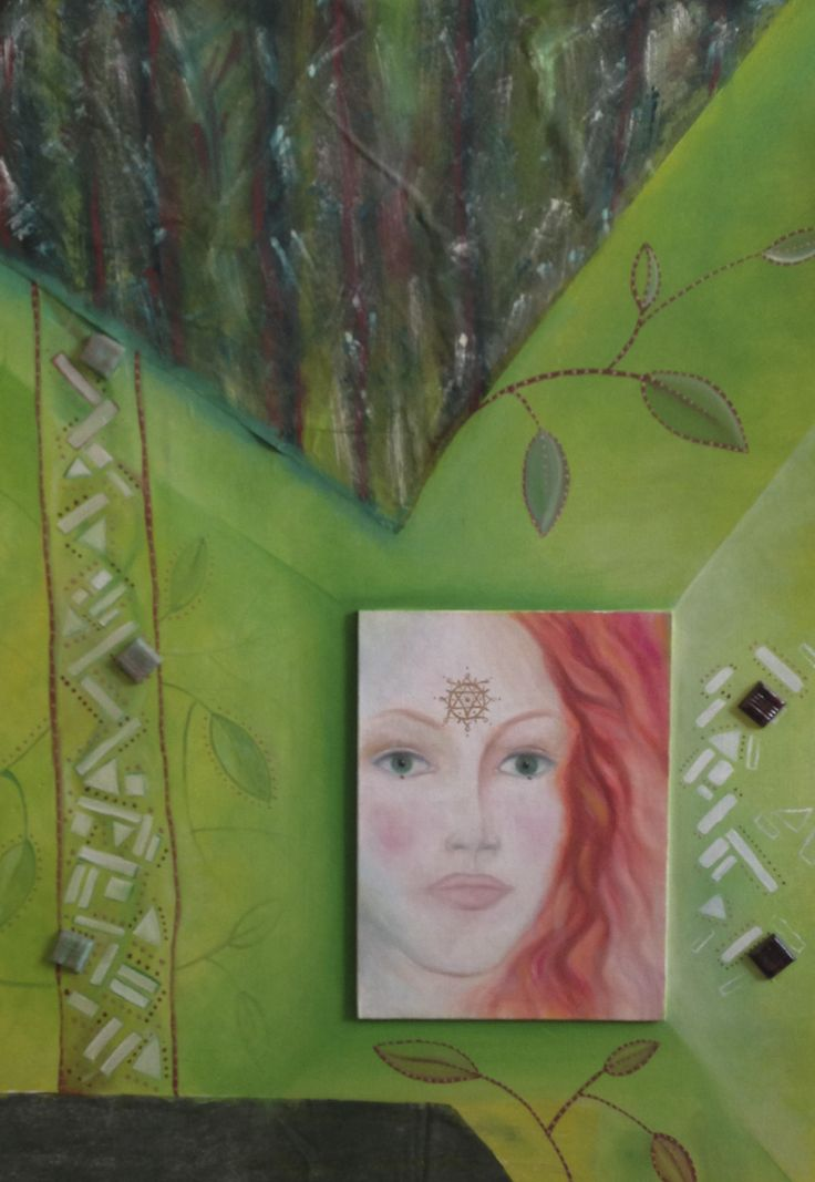 Goddes of Nature (painting and collage)  80x40 - Available to order