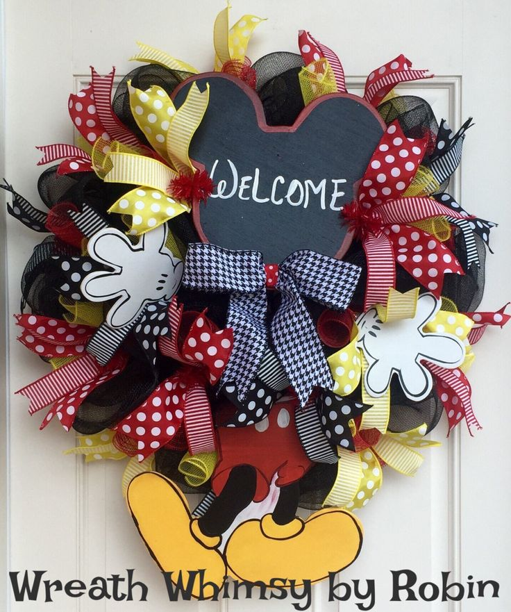 Mickey Mouse Inspired Deco Mesh Welcome Wreath, Hand Painted Mickey Mouse Inspired Decor, Front Door Wreath, Disney Inspired Decor by WreathWhimsybyRobin on Etsy
