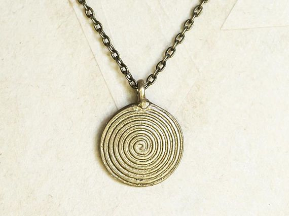 Solid Brass Indian Spiral Pendant Necklace
