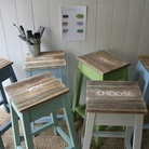 Kitchen stools hand painted to order.  How fab! From Down That Little Lane