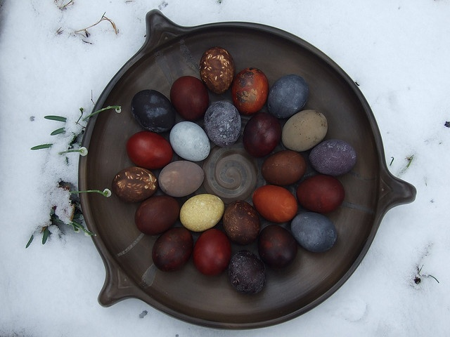 Beautifully dyed eggs using natural dyes.