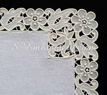 10633 Floral free standing lace edging embroidery set