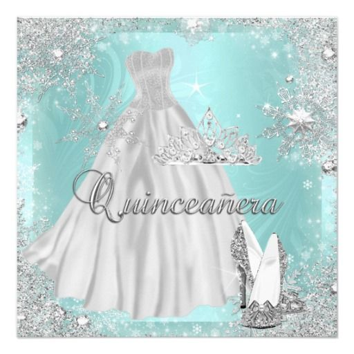 Quinceanera 15th Teal Silver Birthday Party Card