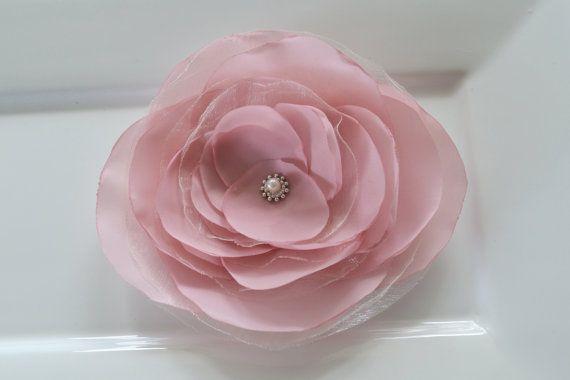Large dusky pink bridal hair flower hair by FlowersAndConfetti