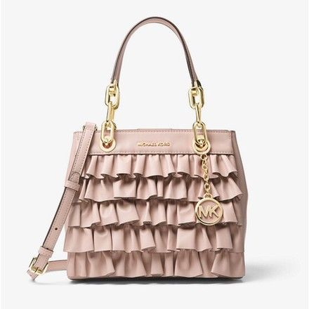 50ee073a25e0 Cynthia Ruffled Pink Leather Satchel | Designer women handbags Tory ...