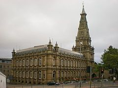 Halifax Town Hall is a grade II* listed, 19th century town hall in Halifax, West Yorkshire, England. It is notable for its design and interiors by Charles Barry and his son, Edward Middleton Barry, and for its sculptures by John Thomas.
