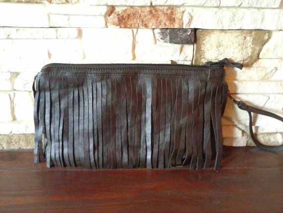 Leather Clutch Fringe Bag Brown Leather Bag Recycled by BagsBand