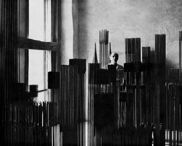 Sound sculptures by Harry Bertoia are manipulated by hand or wind.