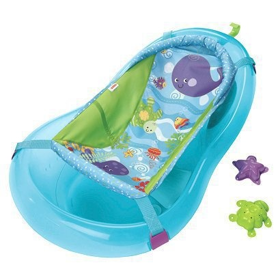 Fisher Price Aquarium Bath Center.  It's awesome, not too big but when your baby gets good at sitting, up to 22lbs even you just turn it around.  Super reasonable too.