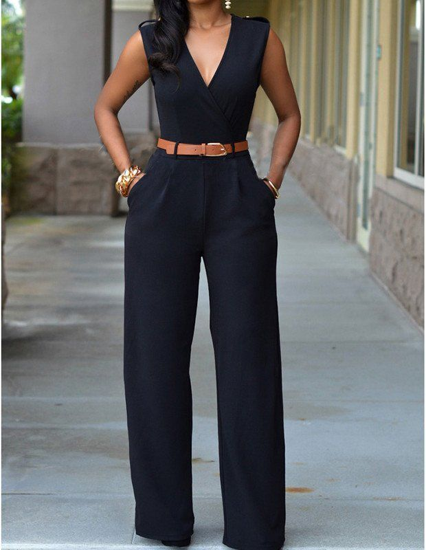 Black Casual Belted V Neck Long Pants Jumpsuit For Women