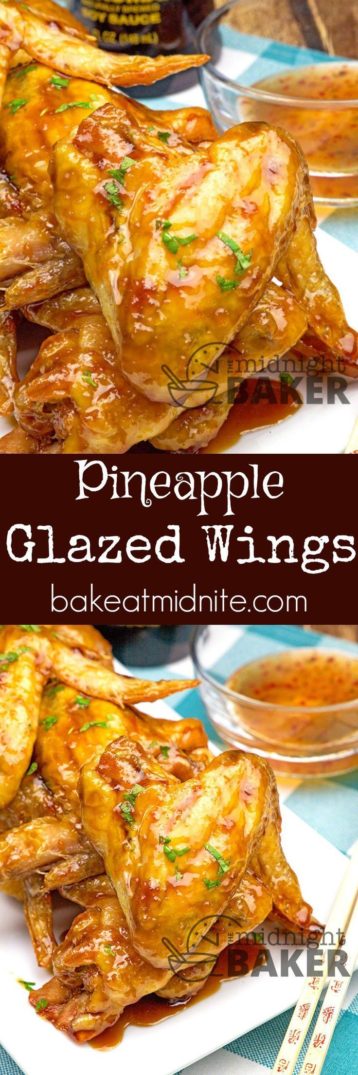 Pineapple Glazed Wings - a sweet and sour pineapple glaze makes this wings finger lickin' good! Great for holiday appetizers! : bakeatmidnite