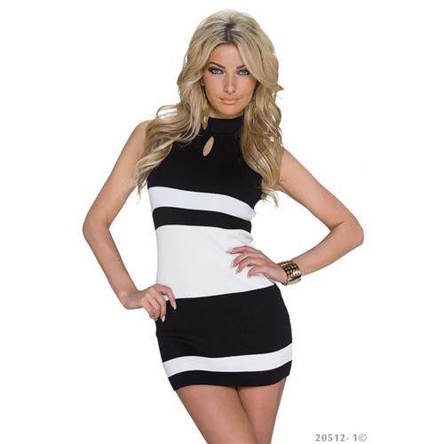 Fashion High Neck Contrast Color Jersey dress Clubwear Black Neck