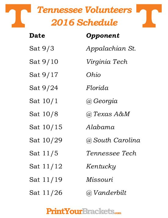 Printable Tennessee Volunteers Football Schedule 2016