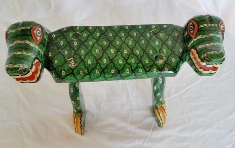 Primitive Green Crocodile Tabouret Bench on Chairish.com