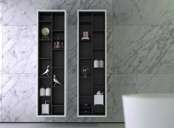 Knief Boxes Strips Hanging Shelves Storage Open Cabinets Contemporary Design Modern Bathroom Interior