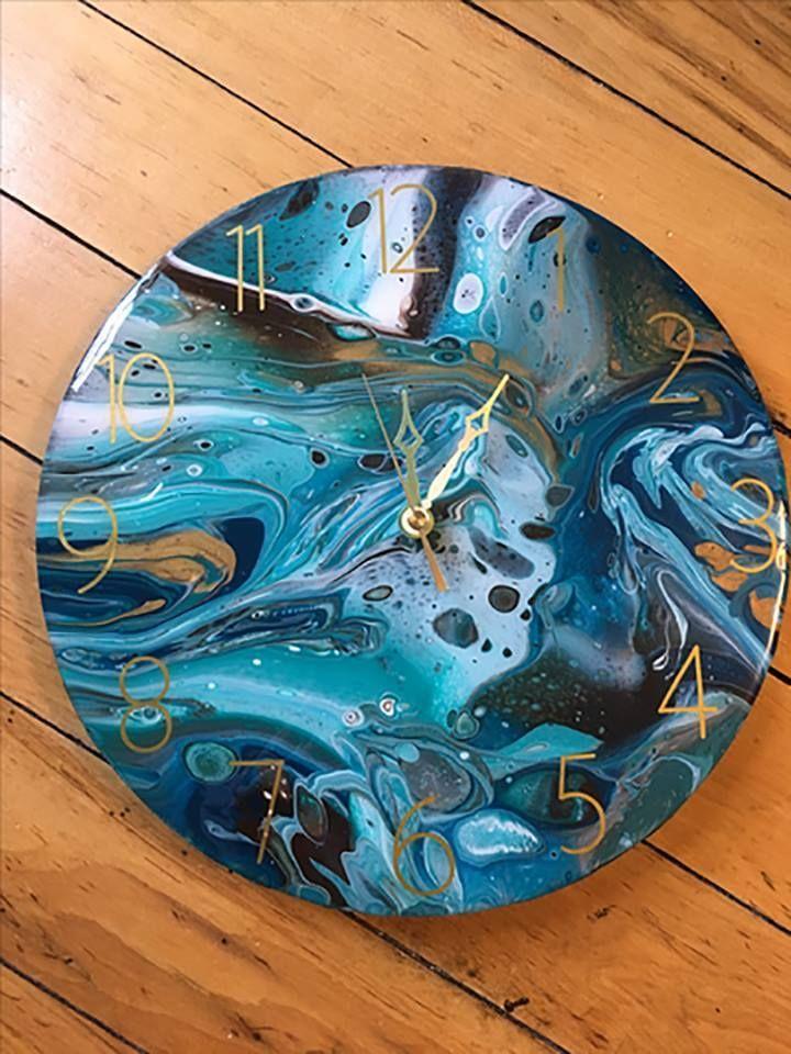 Diy watercolor resin clock diy resin art resin diy