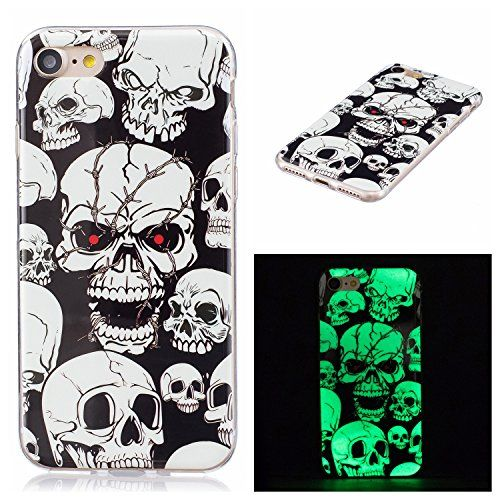 Sunvy iPhone 7 Case Luminous Cool Skull Design iPhone 7 Case Scratch Resistant TPU Silicone Protective Cover for 47inch iPhone 7 with a Screen Protector -- Want additional info? Click on the image.(This is an Amazon affiliate link and I receive a commission for the sales)