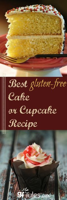 Best gluten free cake or cupcake recipe. Easy ingredients, delish results! gluten-free and dairy-free |gfJules.com