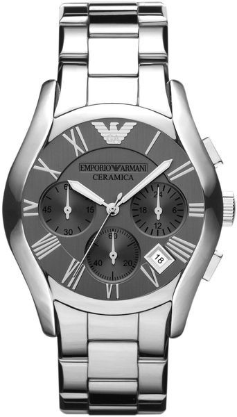 Emporio Armani Silver Ceramic Mens Watch