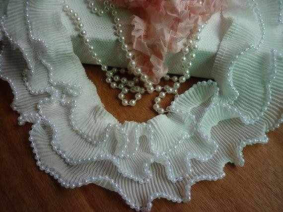 Lace Trim Three-deck Soft Bead White Stretch Lace by lacediy