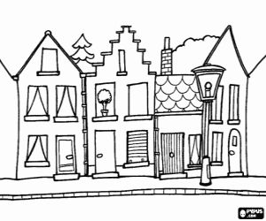 De straat van een stad of kleine stad kleurplaat