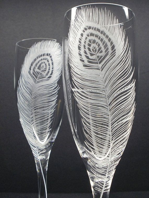 Peacock Feathers 2 Champagne Flutes Hand Engraved Peacock Wedding