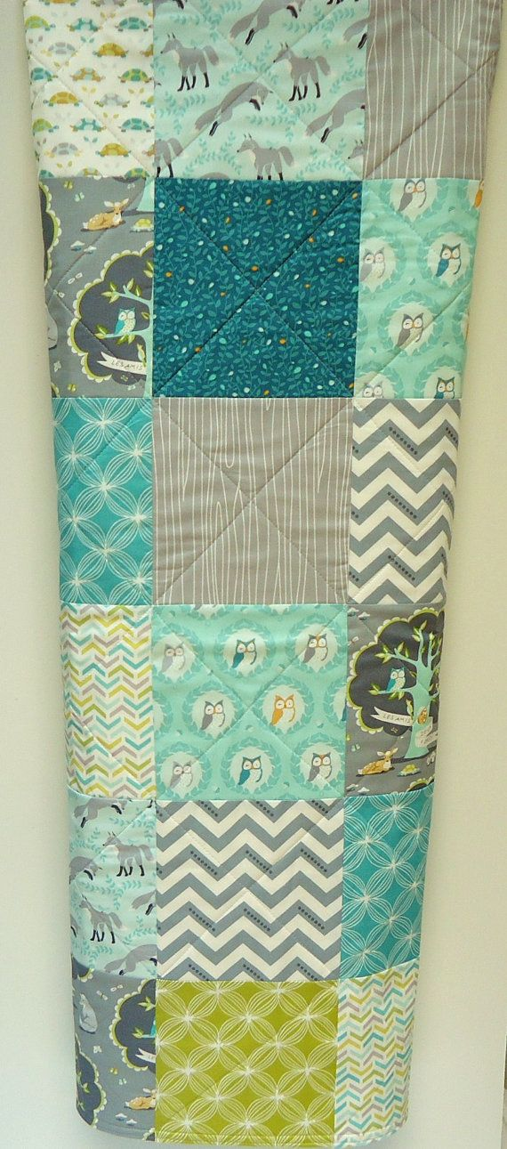 Quilt, Modern Baby Quilt, Owl Quilt, Fox Quilt, Les Amis, Polyester Free