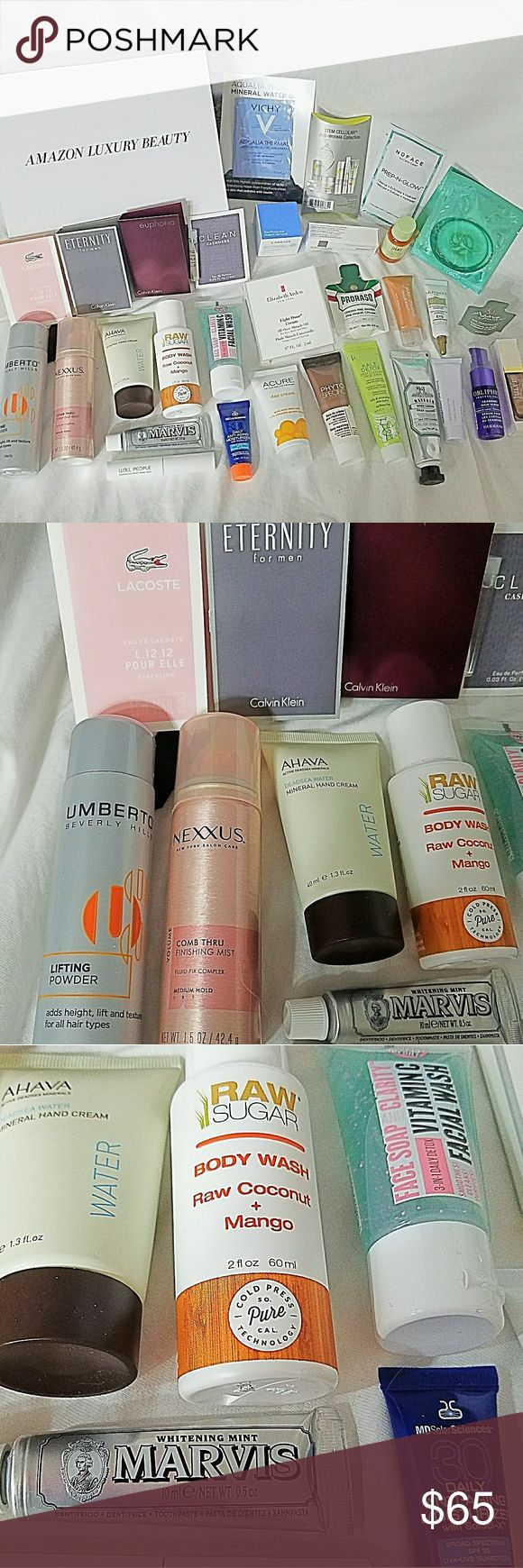 AMAZON LUXURY BEAUTY *nwt* 31pc Samples Item: *Amazon Prime Members Only Limited Edition Beauty Box *All Producrs are Sample or Trial Sizes  *4 Perfume, 1 For Men *11 Facial Cleaners, Tonics, Oils & Wrinkle Washes and Creams *4 Masks, Peels & Eye Products *4 Body Lotion *4 Hair Products *1 Body Wash *1 Mascara *1 Nail Polish *1 Shaving Cream  *1 Tooth Paste  *All Are NEW and Have Never Been Used  * I will List Some of the Brands in Comments! *  Check my othee listings as I'll be adding…