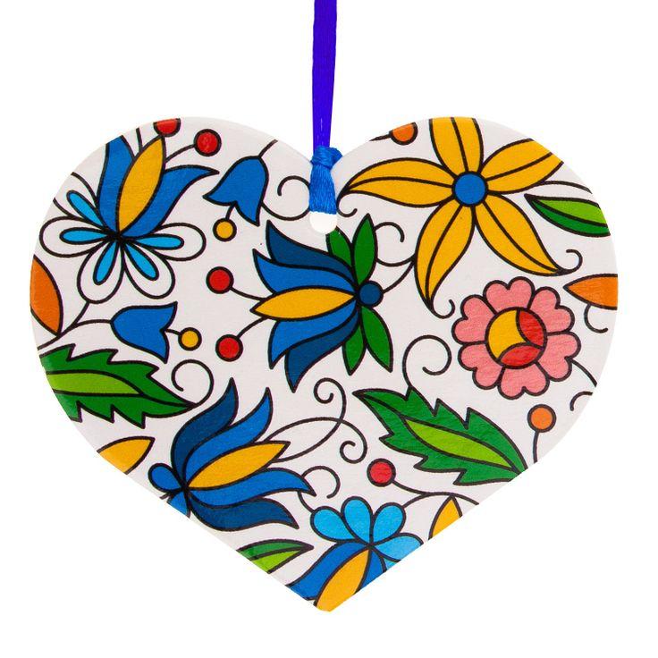 Kolorowa FOLK ozdoba choinkowa - serce - kaszubska