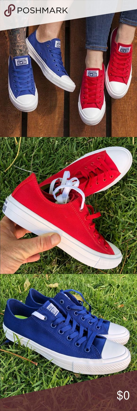 CONVERSE ALLSTAR II 😍 FOR HIM & HER Red & blue colors are both available for men and women! ❤️😍💙 get some! Check my page for your size!   Same or next day shipping in original box.   Bundle items to save! Converse Shoes Sneakers
