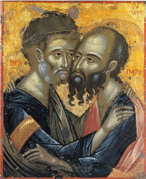 Икона Петра и Павла. Монастырь Каракал. Афон.