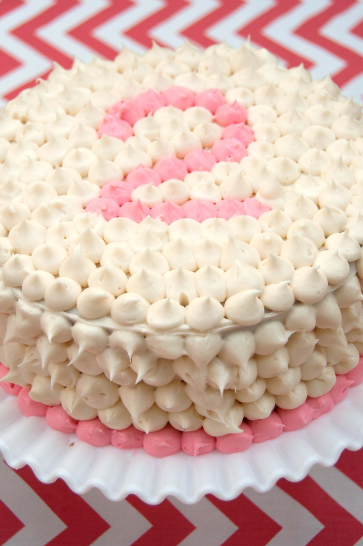 This is the most adorable cake! Polka dot birthday cake.  Aesthetic Nest: Party: Coral Chevron Dot Birthday for Tess    #birthday #cake #dot #two