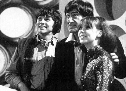 The Doctor flanked by companions Jamie (Frazer Hines) and Zoe (Wendy Padbury) - The Mind Robber (1968)