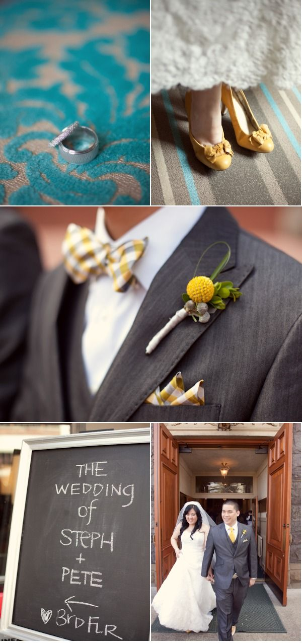 grey suit, white shirt, yellow tie- I like the bow tie