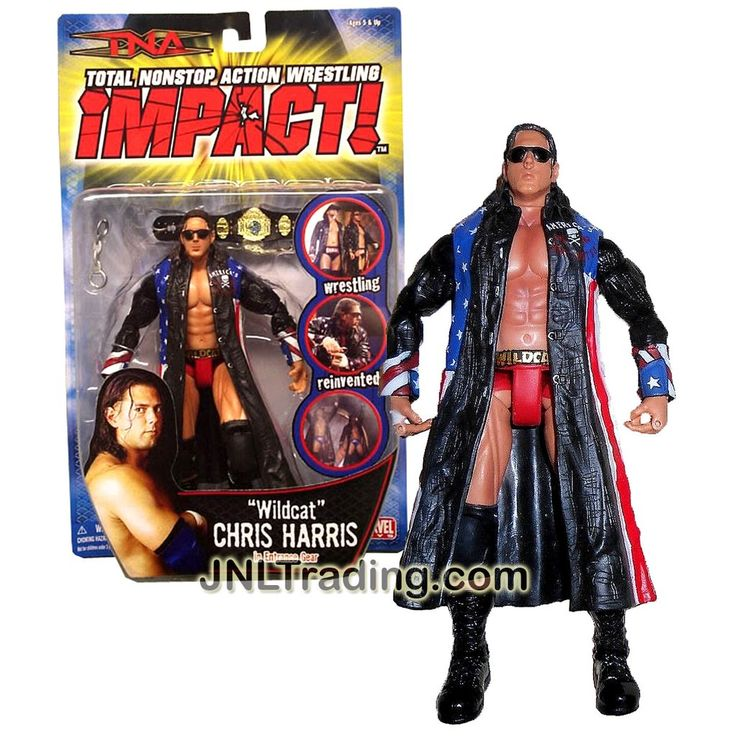 """Marvel Toys Year 2006 Total Nonstop Action TNA Wrestling Series 7 Inch Tall Wrestler Action Figure - """"WILDCAT"""" CHRIS HARRIS (No Mustache Variant) in Entrance Gear with Champion Belt and Handcuff"""