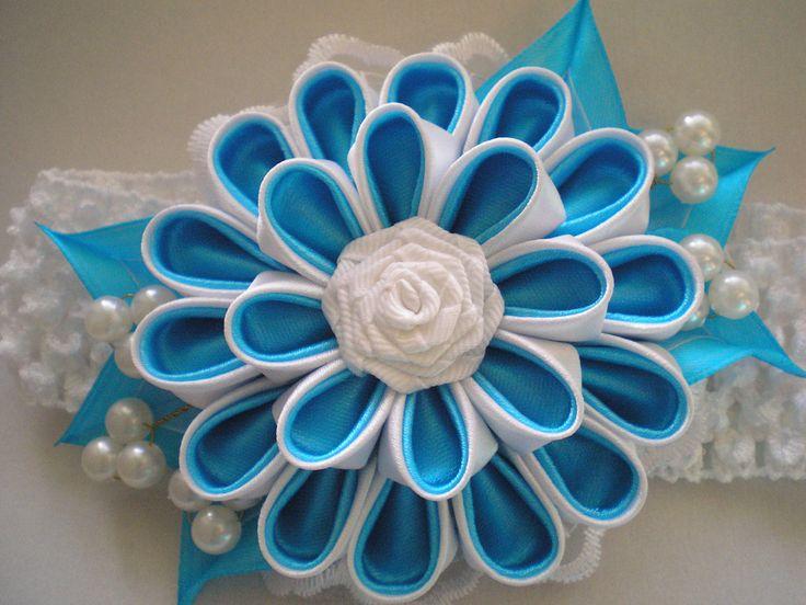 Headband kanzashi flower elastic band with by myflowersshop