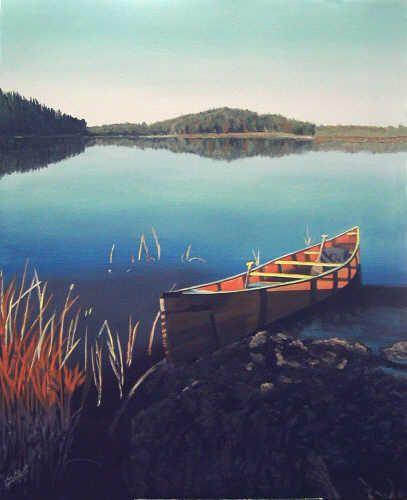 """Sunrise on the Canoe"" - acrylic painting by Sheryl Gallant -  http://sherylgallant.ca"