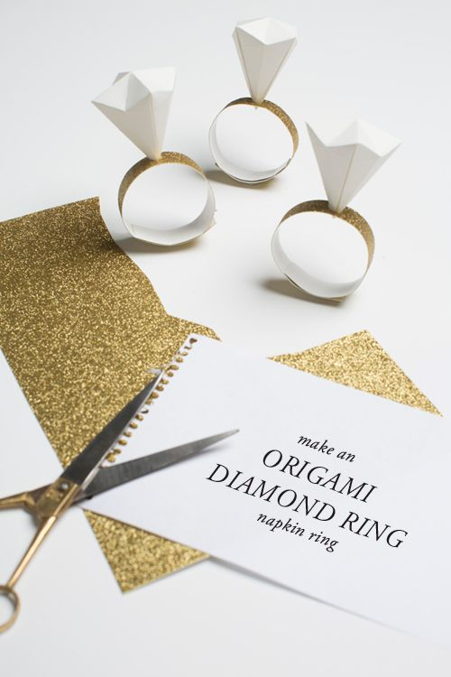 Origami diamond ring napkin rings great idea maybe I should start with it its cheaper then gold ;)))))))