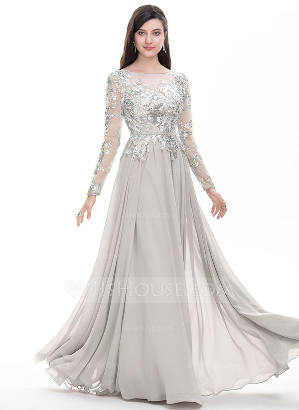 4c175bc9786 A-Line Princess Scoop Neck Floor-Length Chiffon Prom Dresses With Beading  Sequins