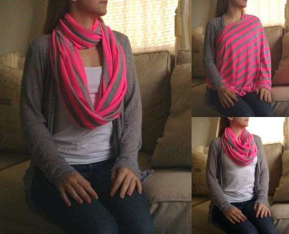 SHIPS NOW -- Nursing Scarf / Infinity Scarf / Nursing Cover - Pretty Neon Pink & Heather Gray Stripes Jersey Knit - 30 x 60 inches $20
