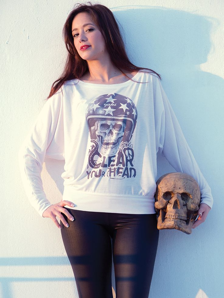 CLEAR YOUR HEAD // Single colour design screen-printed on 35% Viscose and 65% Polyester white flowy off long sleeve t-shirt using water inks.