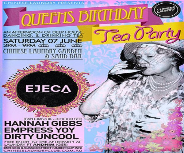 Queens Birthday Tea Party ft EJECA (Exporis/UK) - 3hr set at Chinese Laundry, 1 Slip Street, Sydney, 2000, Australia on June 07 at 3:00 pm - 9:00 pm, Price: General Entry: 22.60 - 32.80, Join us for an afternoon of Deep House, Disco and UK Garage at Slip Inn for the Queens Birthday long weekend, Saturday 7th June. Featuring a debut Sydney set from rising star EJECA, Category: Live Music.
