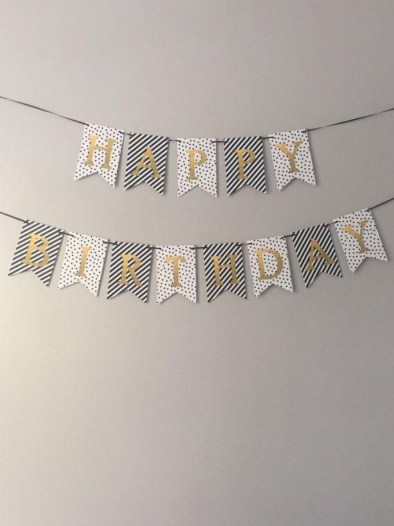 happy birthday banner   black white  gold by peonyandpearldesign