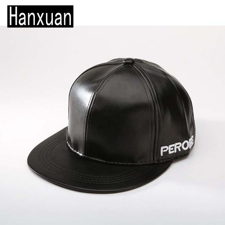 2015 Europe And American Men Solid Color Black PU Leather Snapbacks Adjustable Women Faux Leather Casual Flated Hats  Baseball