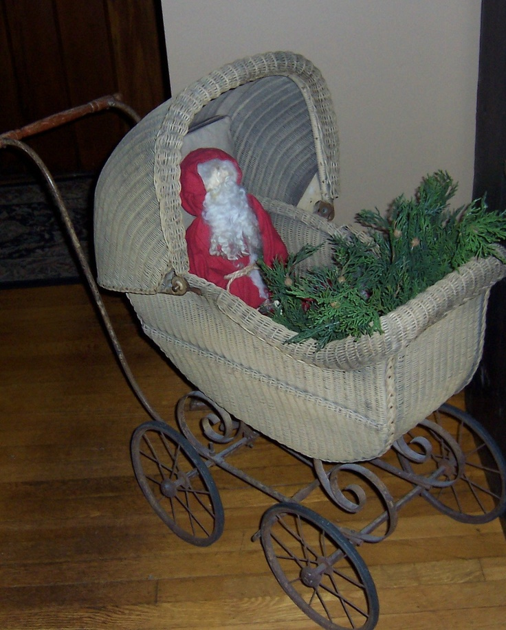 Antique baby carriage for christmas decor repurpose for Baby carriage decoration