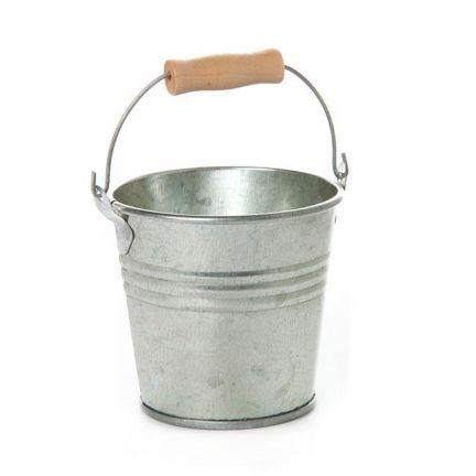 Tin Bucket Bambino 8Dx7cmH Zinc Silver